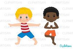 Yoga Clip Art, Yoga Poses Boys, Yoga Kids, Meditation Product Image 2