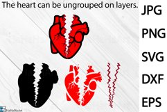 Breaking Heart Design - Clip art / Cutting Files 1343c Product Image 2