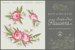 Foil Quill Flowers | Print & Foil single line sketch design Product Image 1
