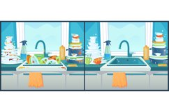 Washing dishes in sink. Dirty dish in kitchen, clean plates Product Image 1