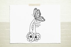 Hand with flowers and butterfly svg cut file Product Image 1