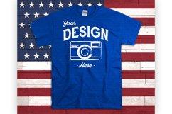 American Flag Tshirt Mockup Blue T Shirt USA Display Product Image 1