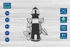 LightHouse Svg, Lighthouse with flower Cut File Product Image 1