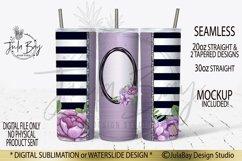 20oz Skinny Tumbler Sublimation Design Purple Flowers Stripe Product Image 1