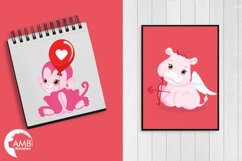 Happy Valentine clipart, Valentine jungle clipart, graphics illustrations AMB-1577 Product Image 3