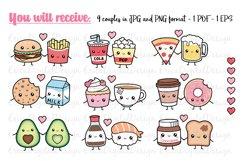 Perfect match clipart set - Kawaii food - Best Friend - Love Product Image 4