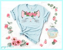 Cat Face With Roses Svg Dxf Eps Png Pdf Files Product Image 3