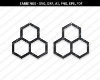 Honeycomb earrings svg,Hexagon earrings,Jewelry svg Product Image 1