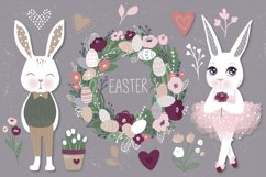Happy Easter. Bunnies, eggs, flowers Product Image 1