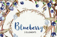 Watercolor clipart, blueberry clipart, clip art wreath Product Image 2