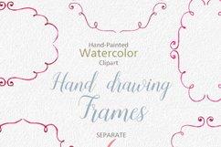 Watercolor Cliparts Frames and Ribbons Pink Green Digital Product Image 2