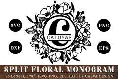 Split Floral Monogram Cut File Bundle Product Image 1
