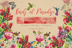 Birds of Paradise JPG watercolor set Product Image 1