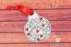 Christmas Ball with Flower Design ITH Ornament Product Image 1