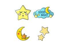 Stars icon set, cartoon style Product Image 1
