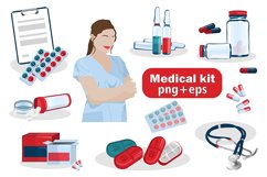 Vector first aid kit, set of medicines, doctor, medical tool Product Image 1