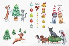 Watercolor christmas illustrations. Dogs Christmas. Product Image 2