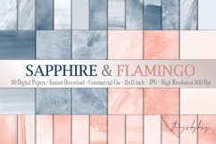 30 Ombre Sapphire & Flamingo Watercolor Digital Papers Product Image 1