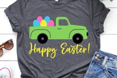 Happy Easter with Truck SVG, DXF, PNG, EPS Product Image 1