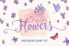 violets flowers watercolor clip art set Product Image 2