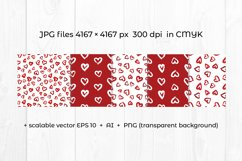 Hearts digital paper. Grunge heart clipart. Heart pattern Product Image 3