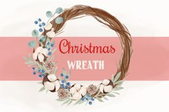 Christmas Watercolor Clipart, Christmas Wreath Clipart, PNG Product Image 1
