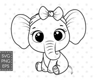 Cute elephant with bow, SVG, PNG, EPS Product Image 2
