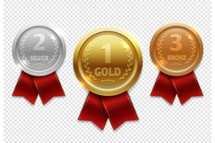 Champion gold, silver and bronze award medals with red ribbo Product Image 1
