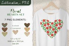 Floral Hearts Set. Valentine Sublimation PNG design Product Image 1