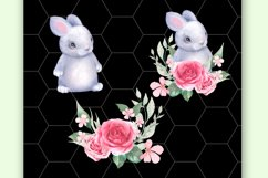 Bunny and Flowers. Cute clipart Product Image 3