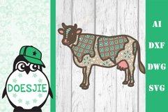 Cow farm animal 3d svg model multi layer mandala layered Product Image 2