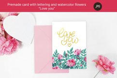 """Premade card """"love you"""" with watercolor flowers. JPG Product Image 3"""