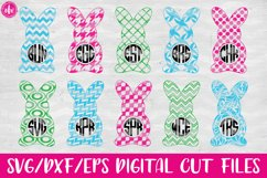 Pattern Monogram Easter Bunny Set - SVG, DXF, EPS Cut Files Product Image 1