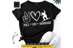 Peace Love Snowboard - Skier SVG DXF EPS PNG Product Image 1