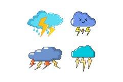 Storm cloud icon set, cartoon style Product Image 1
