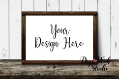 Wood Sign Mockup - Wood Frame on Distressed Rustic Shelf Product Image 3