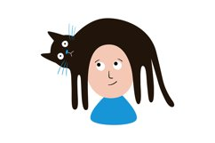 Cat is lying on a person's head. SVG/PNG/EPS/JPG Product Image 2