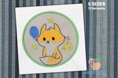 Birthday Fox in Circle Applique Design Product Image 1