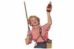 Vintage Fishing Girl, Art Print, Sublimation PNG Product Image 1