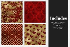 Red & Gold Digital Paper Pack Product Image 2