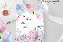 Blue Wedding floral frame border clipart Product Image 3