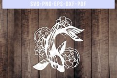 Fish And Peony Papercut Template, Japanese Koi SVG, DXF, PNG Product Image 1
