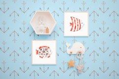 Cute Rabbit sailor. Kids watercolor sea clipart. Baby Bunny Product Image 5