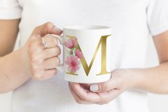 Gold Floral Alphabet Pink Flowers Watercolor Clipart Product Image 4