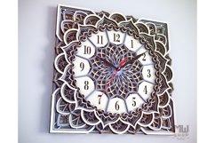 C11 - Wall Clock for Laser cut, Mandala Clock DXF pattern Product Image 2