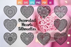 Decorated Hearts Silhouettes, Valentines svg, Mandala Product Image 1