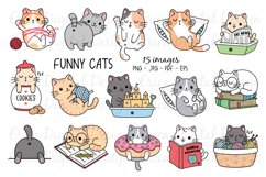 Funny Cats Clipart set - 15 cute images Product Image 1
