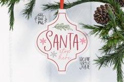 """Santa Stop Here"" Arabesque Tile Christmas Ornament SVG Product Image 1"