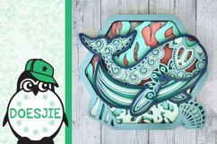 Whale SVG layered multi layer mandala sea animal nautical Product Image 3