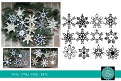 Layered Snowflake SVG, Glowforge SVG, Christmas Ornament SVG Product Image 1